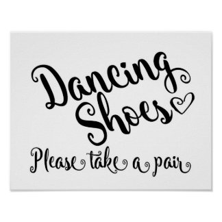 Black & white Dancing shoes wedding sign print