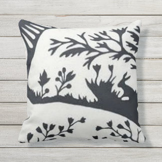 Black White design outdoor throw pillow