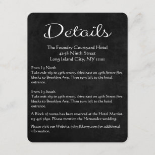 Black and white party enclosure insert cards zazzle black white details directions chalkboard hearts enclosure card reheart Image collections