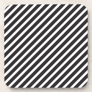 Black & White Diagonal Stripe Coasters