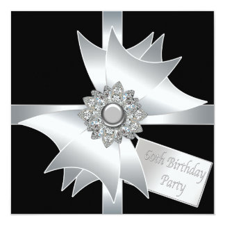 Black White Diamond Bow Womans 60th Birthday Party Personalized Announcement