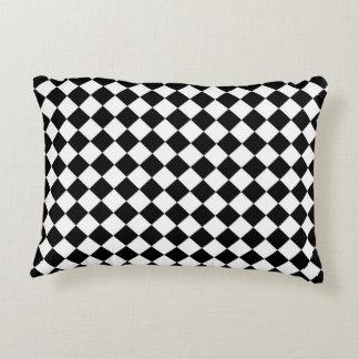 Black White Diamond Checkerboard Decorative Cushion