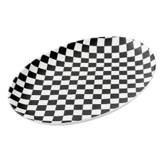 Black White Diamond Checkerboard Porcelain Serving Platter