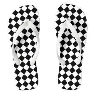 Black White Diamond Checkerboard Thongs