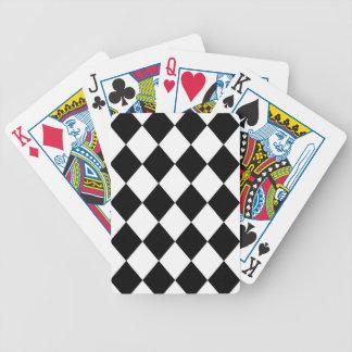 Black & White Diamond Checkered Pattern Bicycle Playing Cards