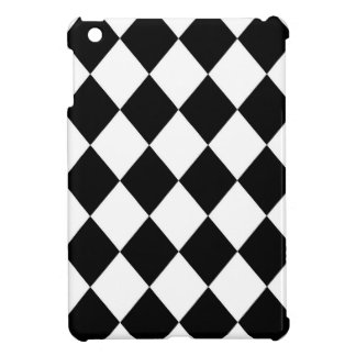 Black & White Diamond Checkered Pattern iPad Mini Cover