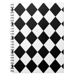 Black & White Diamond Checkered Pattern Notebooks