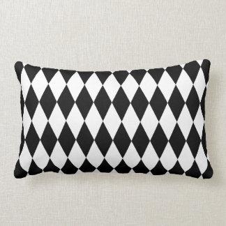 Black & White Diamond Harlequin Pattern Lumbar Cushion