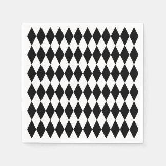 Black & White Diamond Harlequin Pattern Paper Napkin