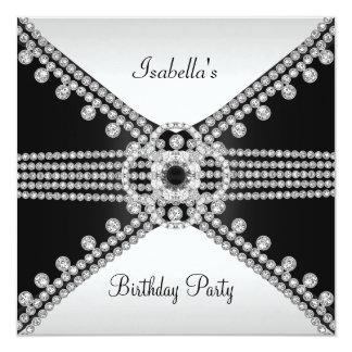 Black White Diamonds Jewels Birthday Party 13 Cm X 13 Cm Square Invitation Card