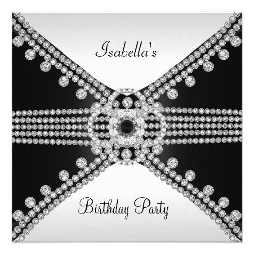 Black White Diamonds Jewels Birthday Party Custom Announcement