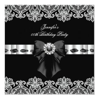 Black White Diamonds Lace Birthday Party 2 13 Cm X 13 Cm Square Invitation Card