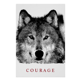 Black White Digital Ink Motivational Courage Wolf Poster