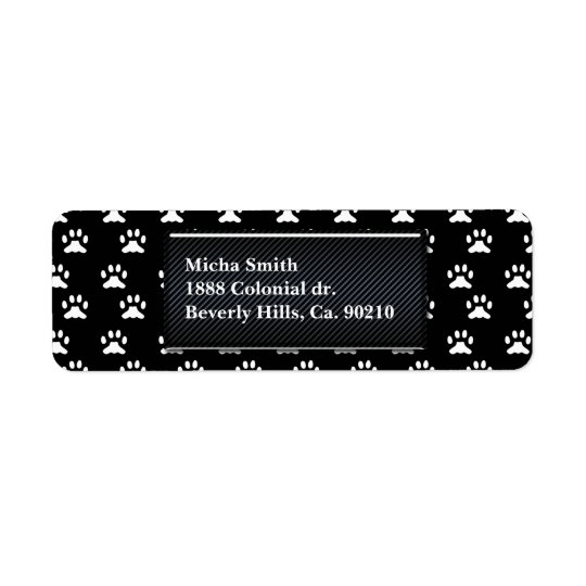 Black & White Dog Paws Monogram Return Address Label