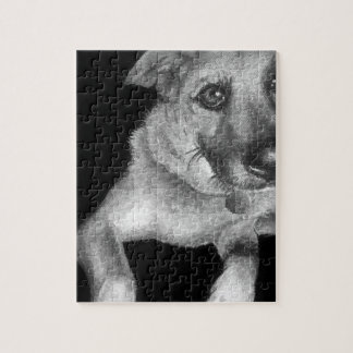 Black & White Dog Portrait Hand Painted Jigsaw Puzzle