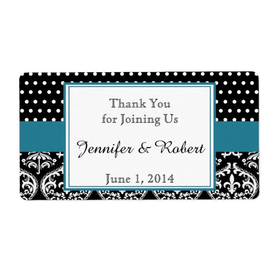 Black White Dots and Damask Water Bottle Label