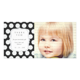 Black & White Dots - Any Occasion Thank you Customized Photo Card
