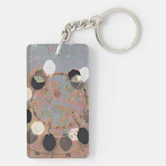 Black white dots grunge style unity digital art Double-Sided rectangular acrylic key ring