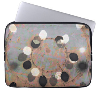 Black white dots grunge style unity digital art laptop sleeves