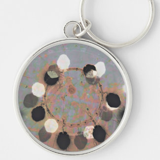 Black white dots grunge style unity digital art Silver-Colored round key ring