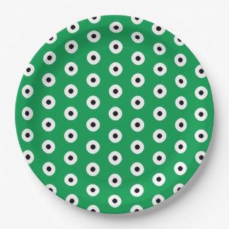 Black/White Dots on Irish Green Background Paper Plate