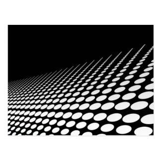 Black & white dots perspective postcard