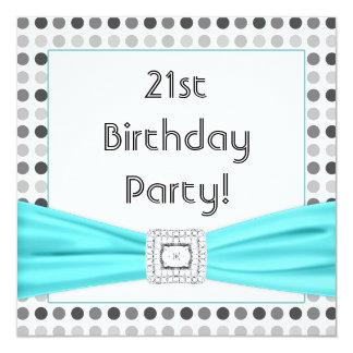 Black White Dots Teal Diamond 21st Birthday Party 13 Cm X 13 Cm Square Invitation Card