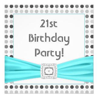 Black White Dots Teal Diamond 21st Birthday Party Custom Invitations