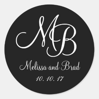 Black White Double Monograms Wedding Favour Sticke Round Stickers