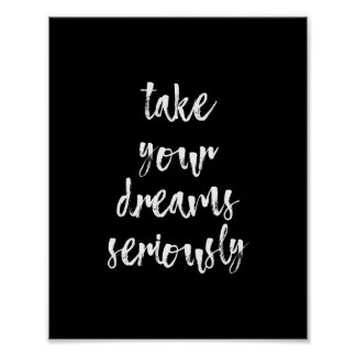 Black & White dreams quote wall art poster | 8X10