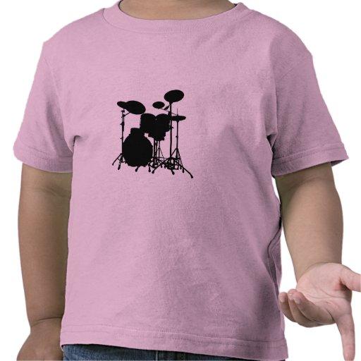 Black & White Drum Kit Silhouette - Drummers T Shirt