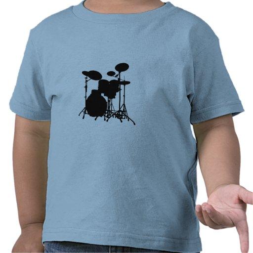 Black & White Drum Kit Silhouette - Drummers Tees