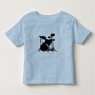 Black & White Drum Kit Silhouette - Drummers T Shirts