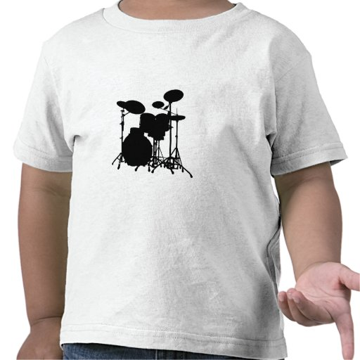 Black & White Drum Kit Silhouette - Drummers T-shirts
