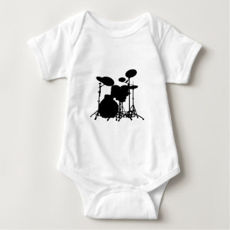 Black & White Drum Kit Silhouette - For Drummers Baby Bodysuit