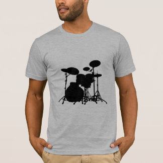 Black & White Drum Kit Silhouette - For Drummers T-Shirt
