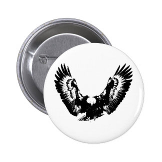 Black & White Eagle 6 Cm Round Badge