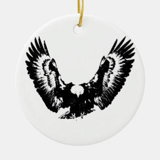 Black & White Eagle Ceramic Ornament