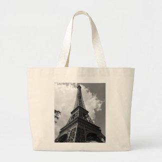 Black & White Eiffel Tower in Paris Large Tote Bag