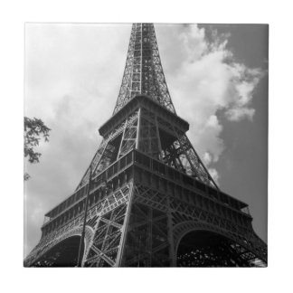 Black & White Eiffel Tower in Paris Small Square Tile