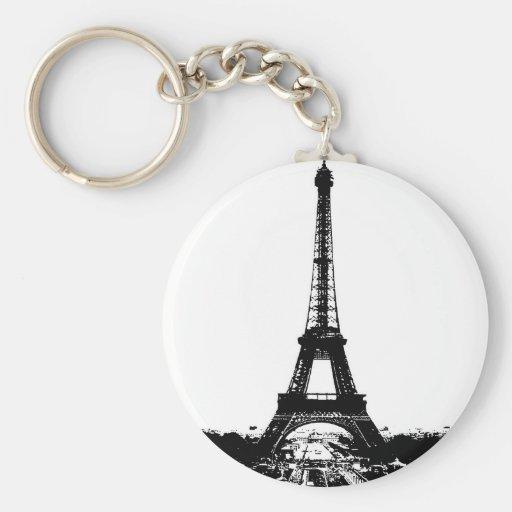 Black & White Eiffel Tower Keychain