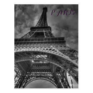 Black & White Eiffel Tower Paris European Travel Postcard