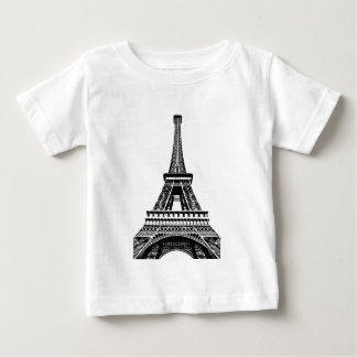 Black white Eiffel Tower Paris France Art Artwork Baby T-Shirt