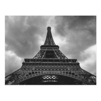 Black & White Eiffel Tower Paris French Travel Postcard