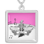 Black white electric guitar wings on pink custom necklace