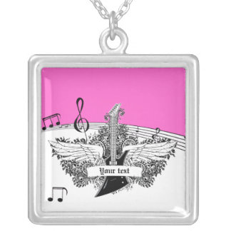 Black white electric guitar wings on pink silver plated necklace