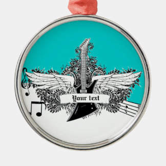 Black white electric guitar with wings ornament