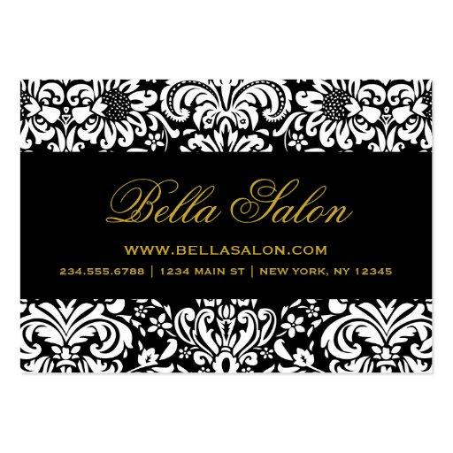 Black & White Elegant Floral Damask Business Card Template