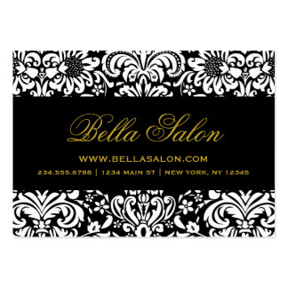 Black & White Elegant Floral Damask Pack Of Chubby Business Cards