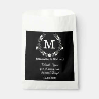 Black White Elegant Floral Wreath Monogram Wedding Favour Bag
